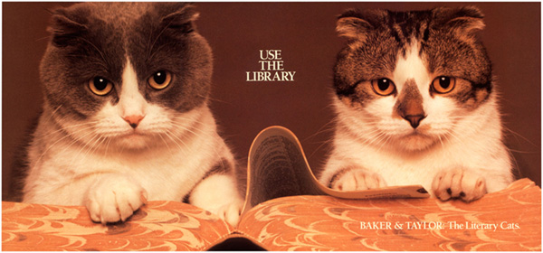 Baker and Taylor library cat poster from the 1980s