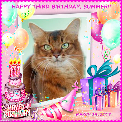 birthday graphic for summer's third birthday