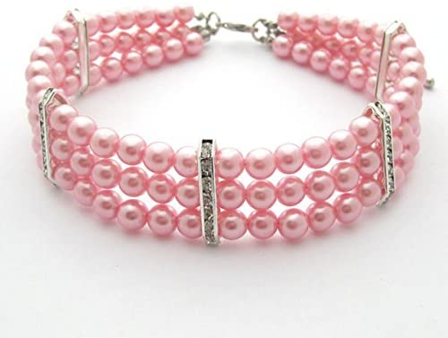 PetFavorites 3 Row Pearls and Diamond Cat Necklace