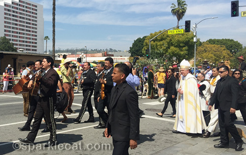Archbishop Jose Gomez arrives at the Blessing of the Animals