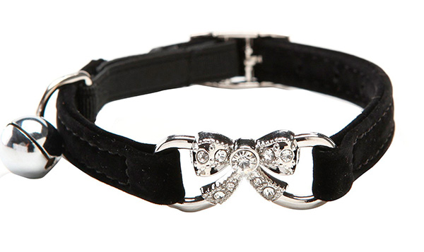 BINGPET Soft Velvet Cat Collar Rhinestone Bow