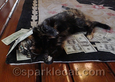 She is literally rolling in dough!