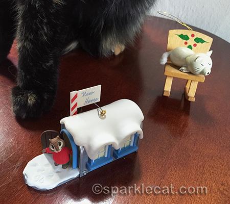 vintage Christmas ornaments, tortoiseshell cat