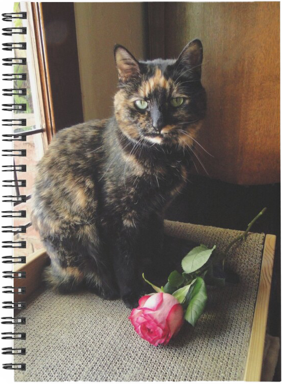 Tortoiseshell Cat With Rose, Tortitude Not Required Spiral Notebook