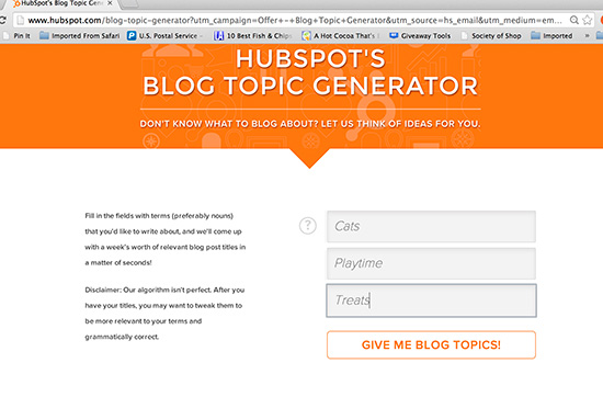 The Blog Topic Generator    for #Cats   SparkleCat