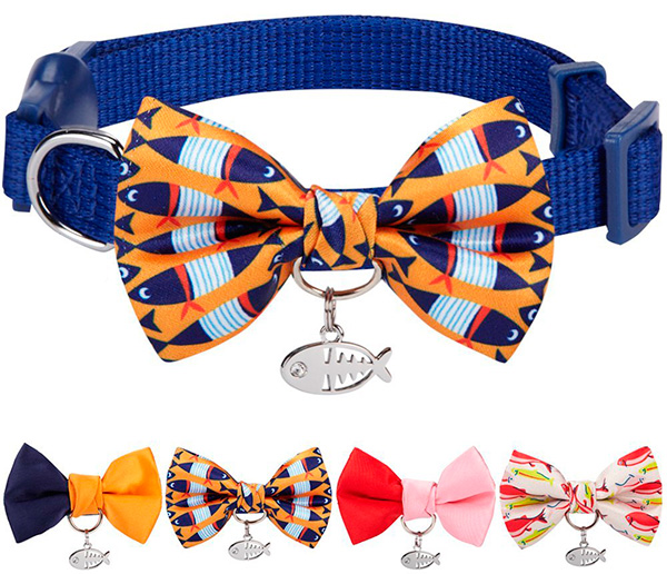 Blueberry Bow Tie Cat Collar with European Crystal Bead on Fish Charm