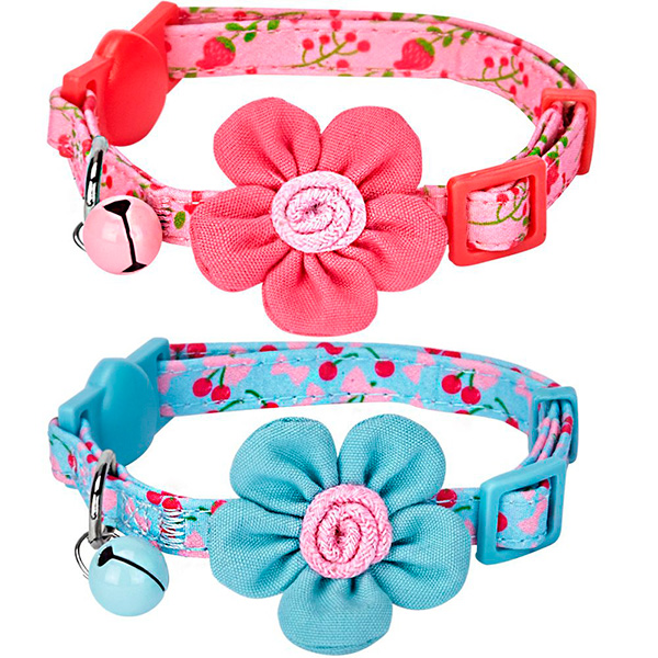 Blueberry Pet Breakaway Cat Collar with Bell and Flower
