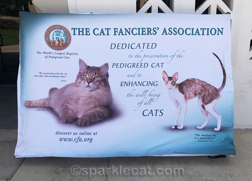 cat show sign in front of Glendale Civic Auditorium