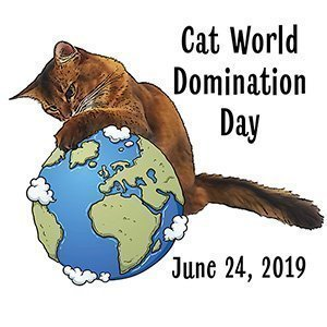 Small Cat World Domination Day Graphic