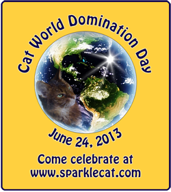 Cat World Domination badge, medium