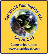 Cat World Domination badge, small