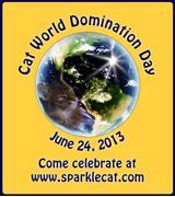 Cat World Domination badge, small