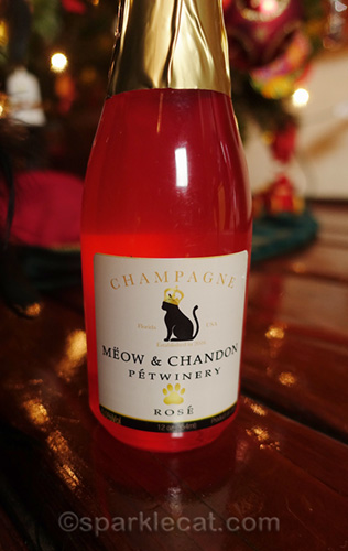 Meow and Chandon rose champagne for cats