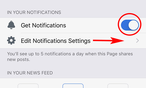 Two step process - get notifications and edit Notifications Settings