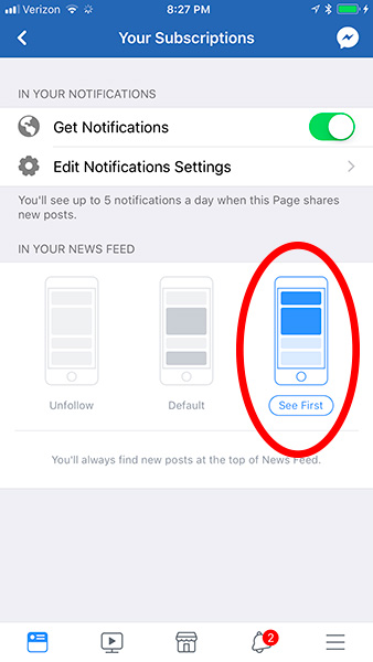 where to click to see a Page first