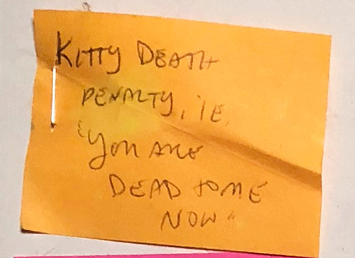 Kitty Death Penalty, i.e., You are dead to me now