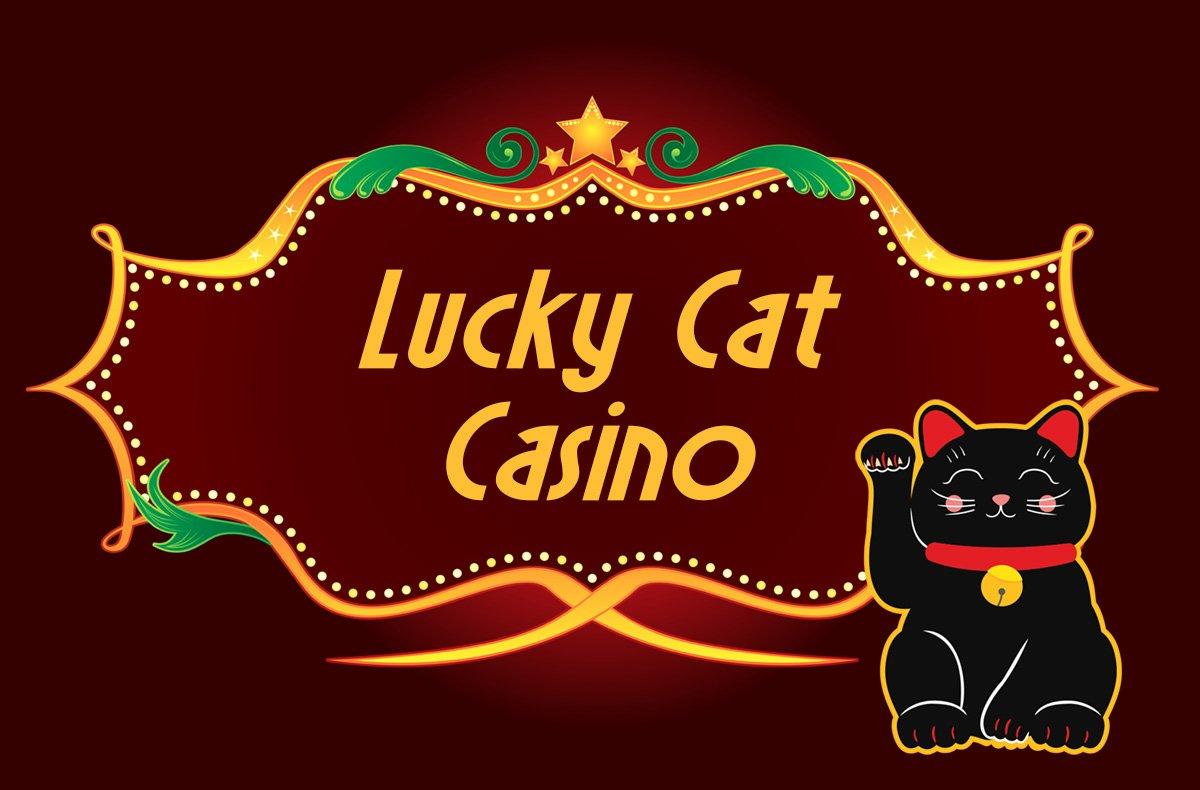 lucky cat casino logo with maneki neko