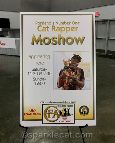 Moshow cat rapper poster at CFA International Cat Show