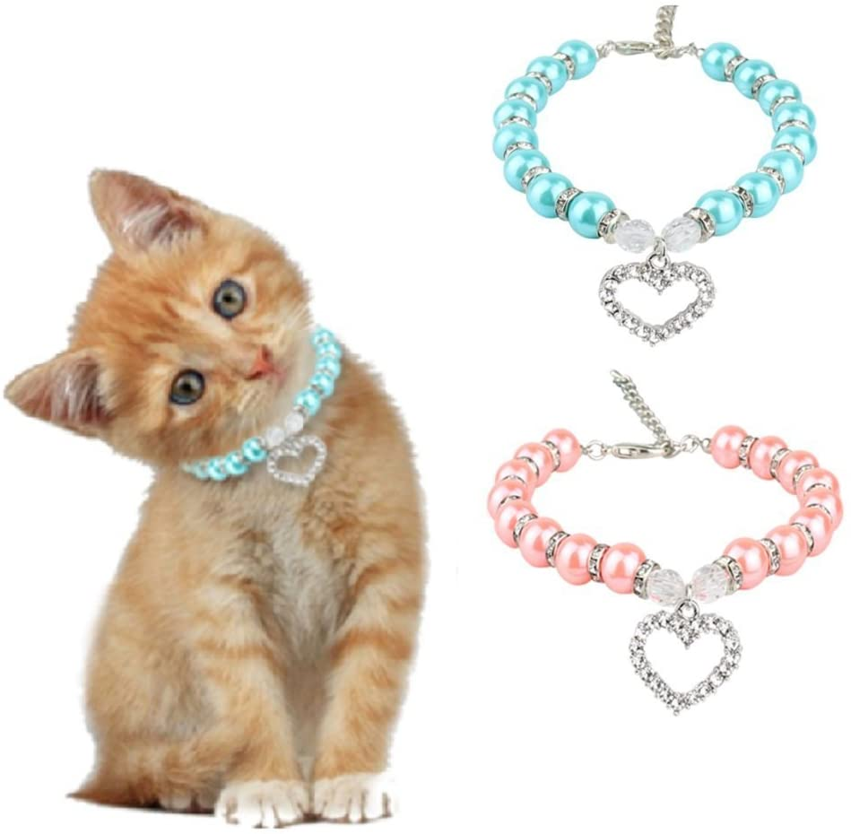 Pack Pet Pearl Necklace with Love Heart Pendant