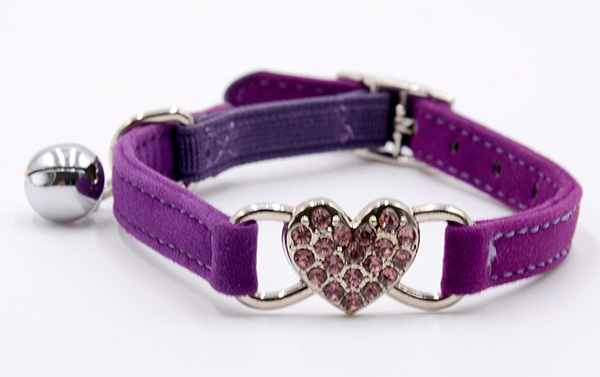 Adjustable Fashion Velvet Cat Collar With Diamante Rhinestone Heart