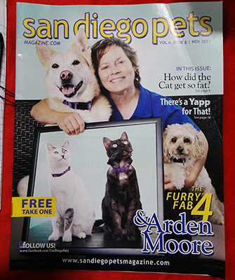 An issue of San Diego Pets Magazine with Arden, Zeki and her other four-legged family on the cover