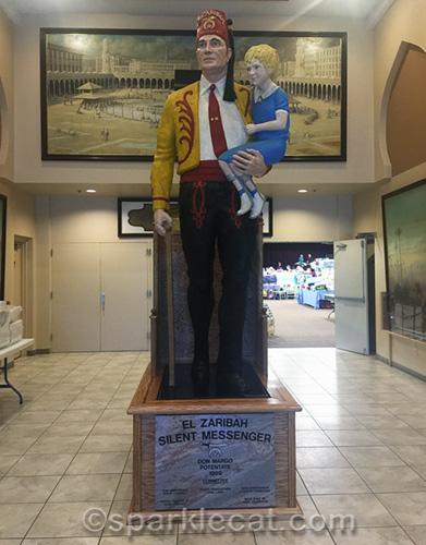 Secret Messenger statue at El Zaribah Shrine Auditorium