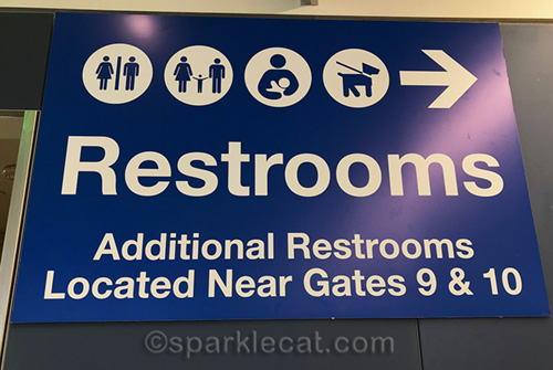 restroom sign at airport