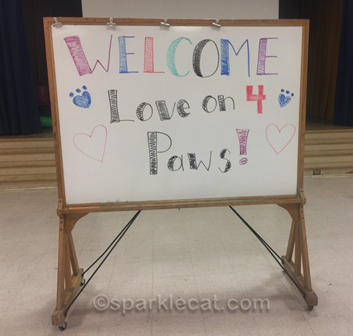 welcome sign for therapy pets from Love on 4 Paws