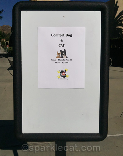 sign at Woodbury university for therapy pet visit