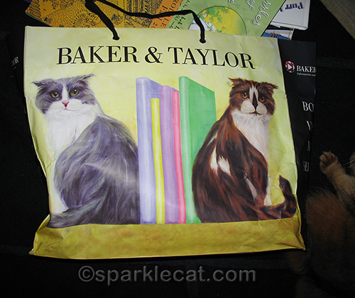 Book bag with Baker and Taylor library cats