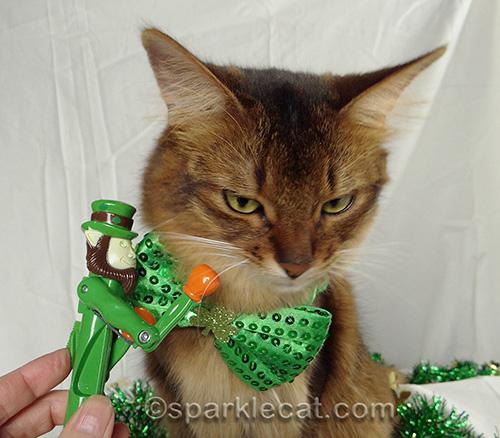 somali cat with punching leprechaun toy pen