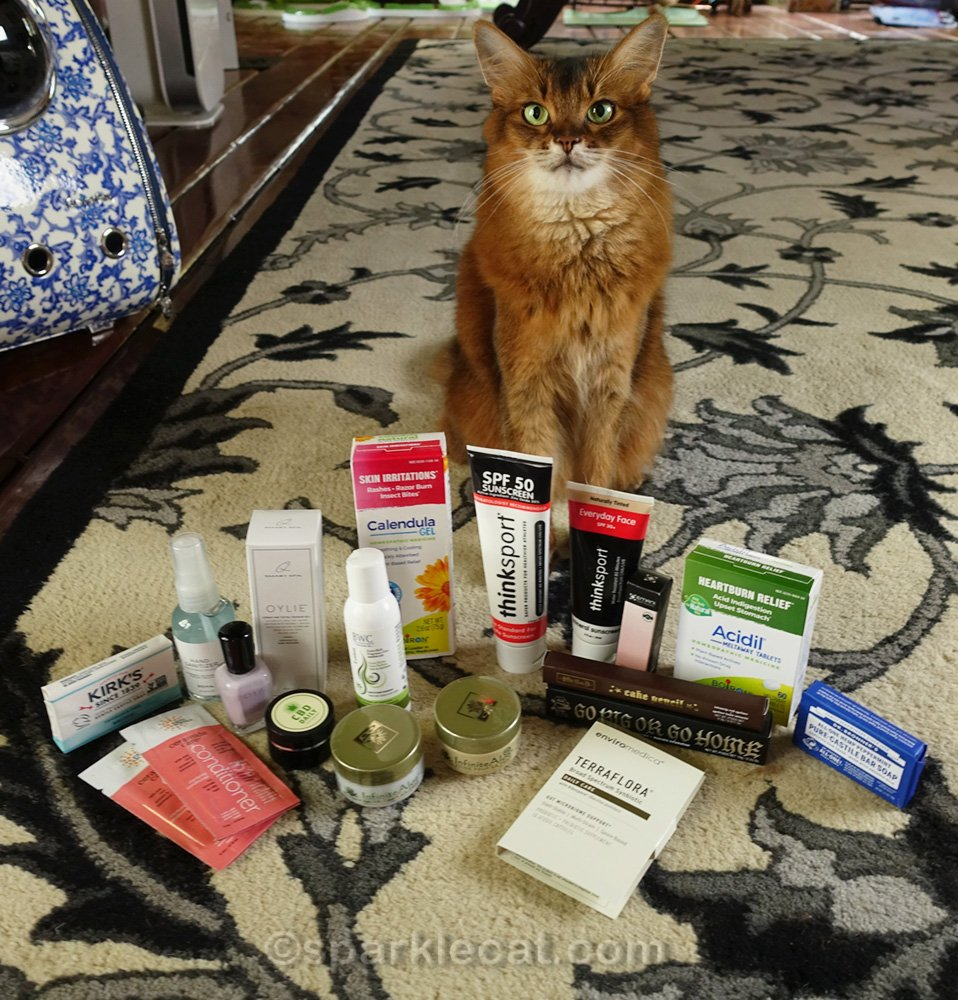 Somali cat posing with beauty and health items from Kitten Rescue gift bag