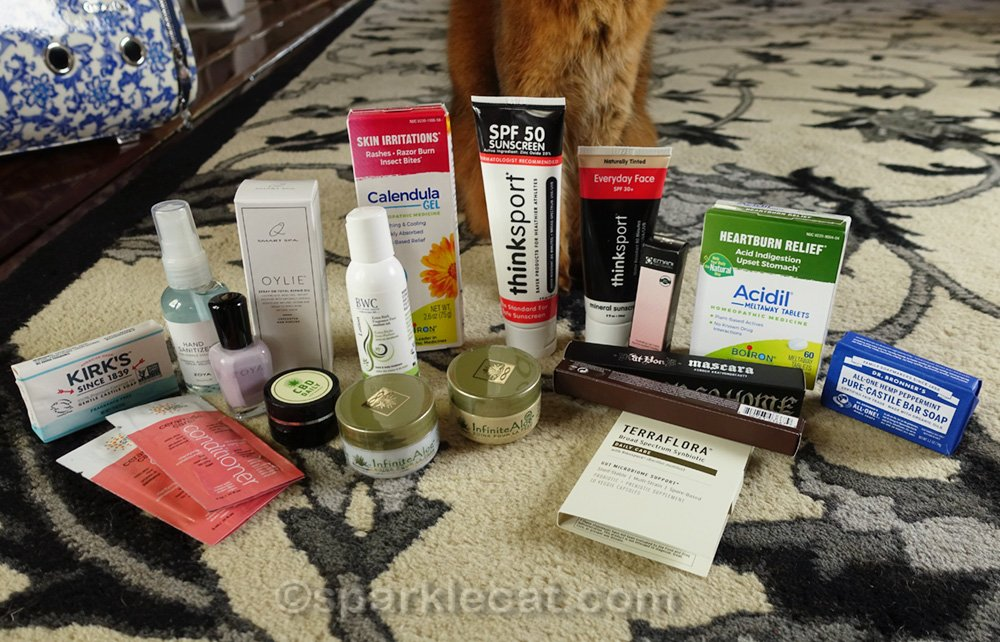 closer look at the beauty and health items from the gift bag