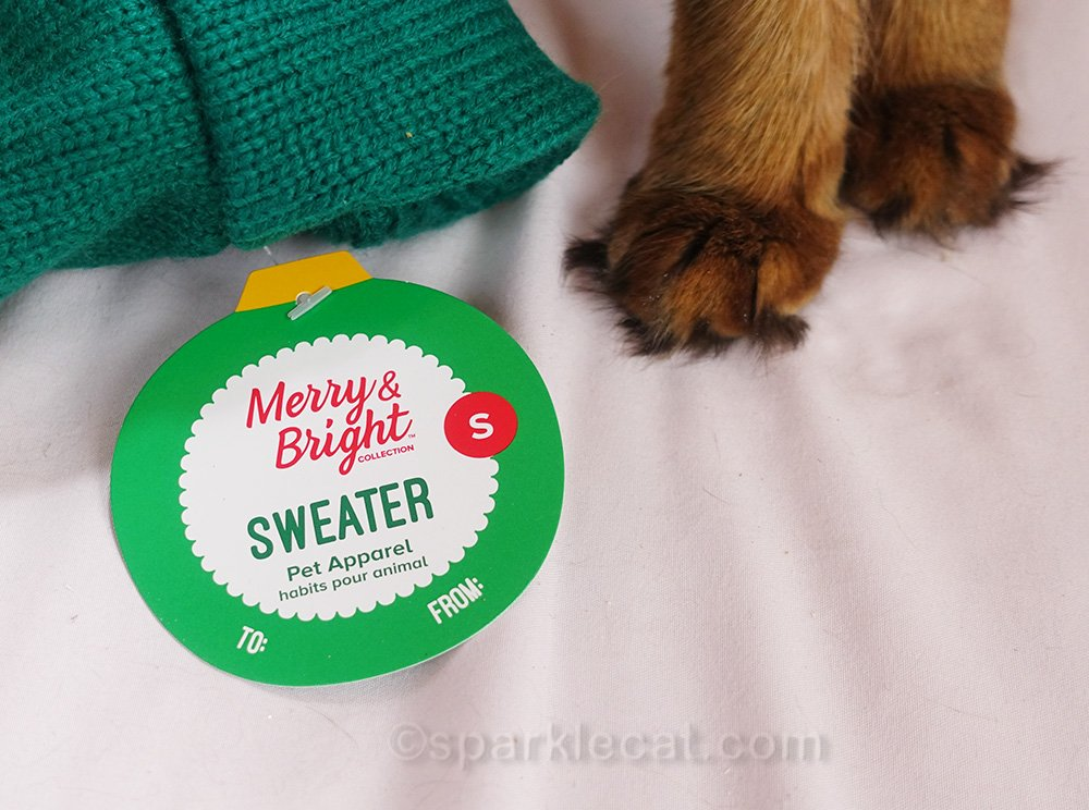 Merry and bright sweater tag