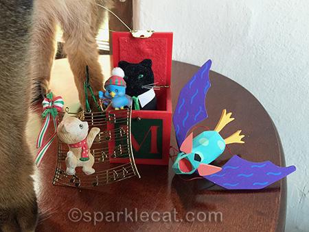 vintage Christmas ornaments, bat ornament, cat ornament
