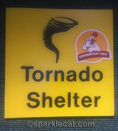 Tornado shelter sign at Denver Airport