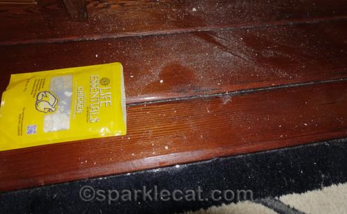 freeze dried chicken treat crumbs all over floor