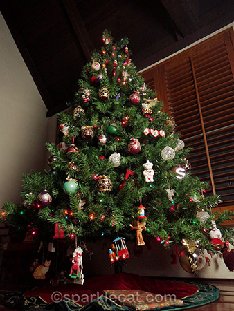 Christmas tree from a cat's point of view