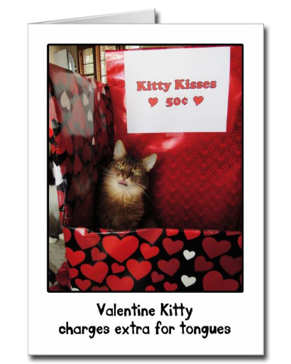Valentine Kitty Kissing Booth Card