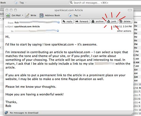One point for politeness - negative 99 points for spamminess